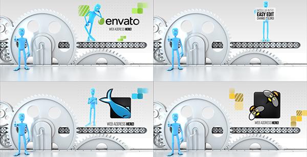 机械小人展示Logo模板